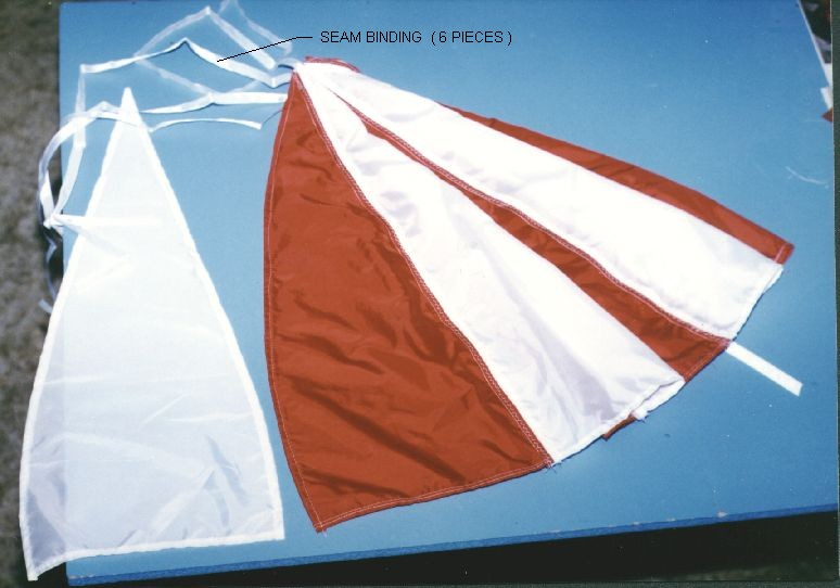 parachute canopy partially constructed